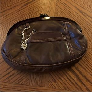 Vintage Bags - Vintage Brown Leather Lucite Clutch & Coin Purse